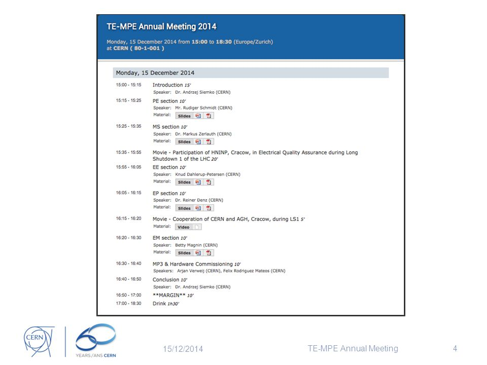 15/12/2014 TE-MPE Annual Meeting4