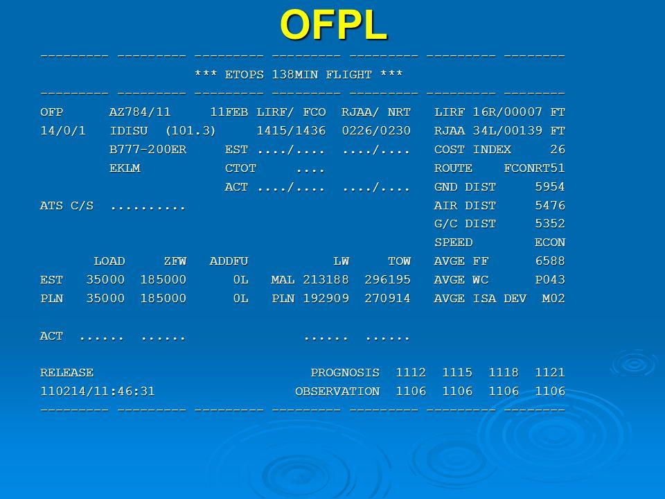 OFPL --------- --------- --------- --------- --------- --------- -------- *** ETOPS 138MIN FLIGHT *** *** ETOPS 138MIN FLIGHT *** --------- --------- --------- --------- --------- --------- -------- OFP AZ784/11 11FEB LIRF/ FCO RJAA/ NRT LIRF 16R/00007 FT 14/0/1 IDISU (101.3) 1415/1436 0226/0230 RJAA 34L/00139 FT B777-200ER EST..../......../....