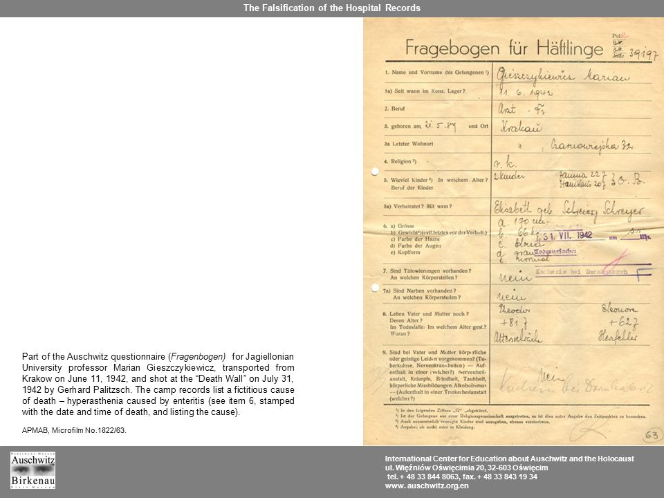 Part of the Auschwitz questionnaire (Fragenbogen) for Jagiellonian University professor Marian Gieszczykiewicz, transported from Krakow on June 11, 1942, and shot at the Death Wall on July 31, 1942 by Gerhard Palitzsch.