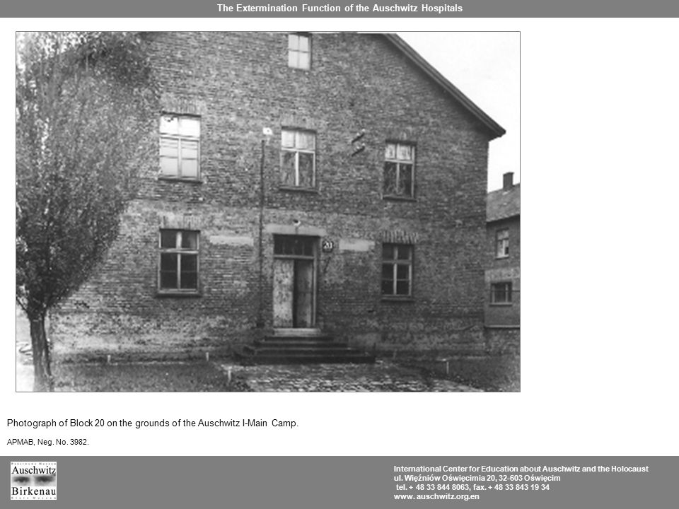 Photograph of Block 20 on the grounds of the Auschwitz I-Main Camp.