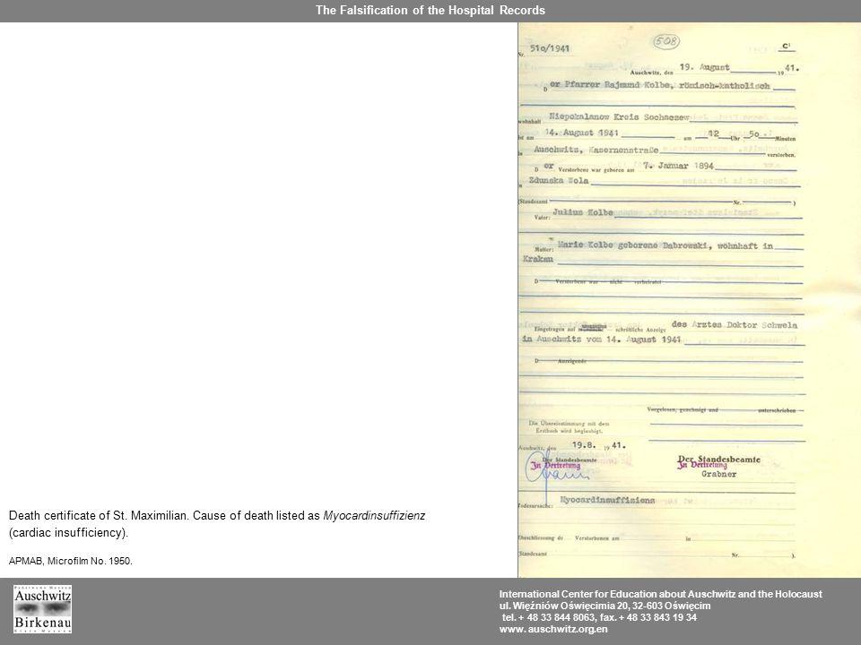 Death certificate of St. Maximilian. Cause of death listed as Myocardinsuffizienz (cardiac insufficiency). APMAB, Microfilm No. 1950. The Falsificatio