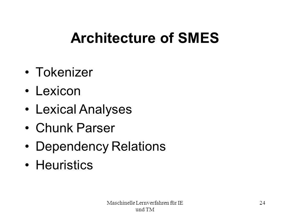 Maschinelle Lernverfahren für IE und TM 24 Architecture of SMES Tokenizer Lexicon Lexical Analyses Chunk Parser Dependency Relations Heuristics