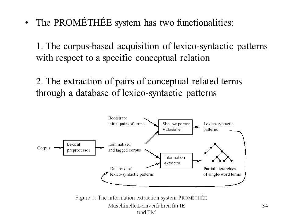 Maschinelle Lernverfahren für IE und TM 34 The PROMÉTHÉE system has two functionalities: 1.