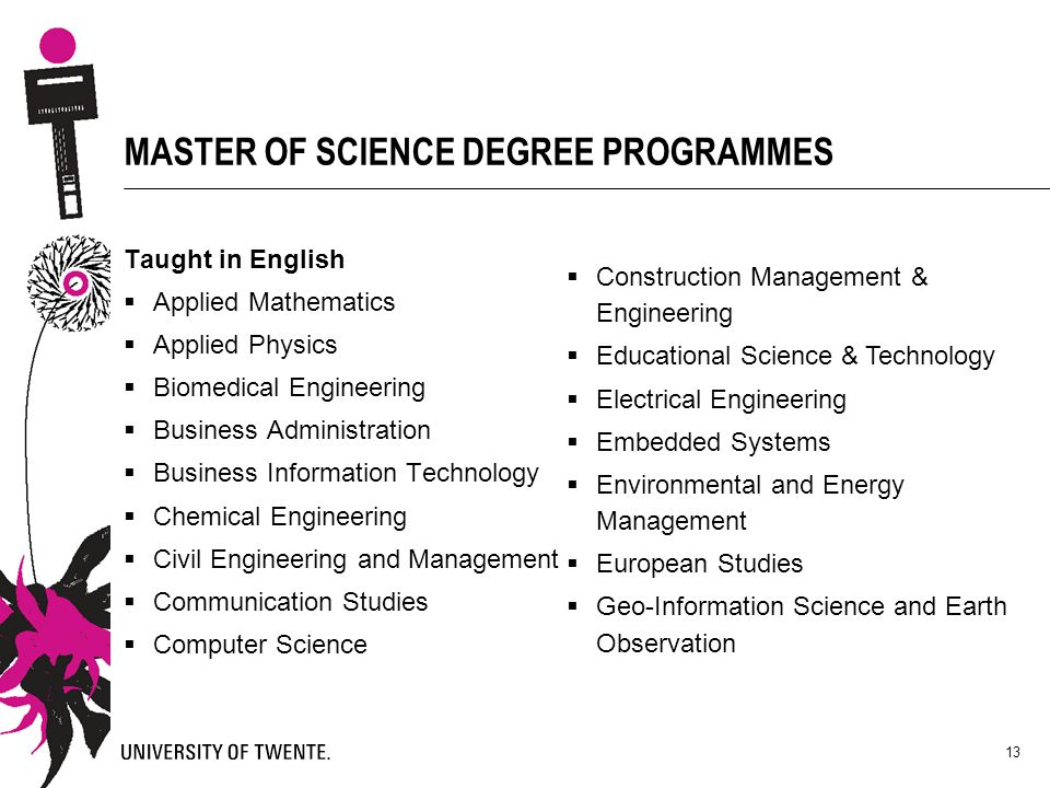 13 MASTER OF SCIENCE DEGREE PROGRAMMES Taught in English  Applied Mathematics  Applied Physics  Biomedical Engineering  Business Administration 