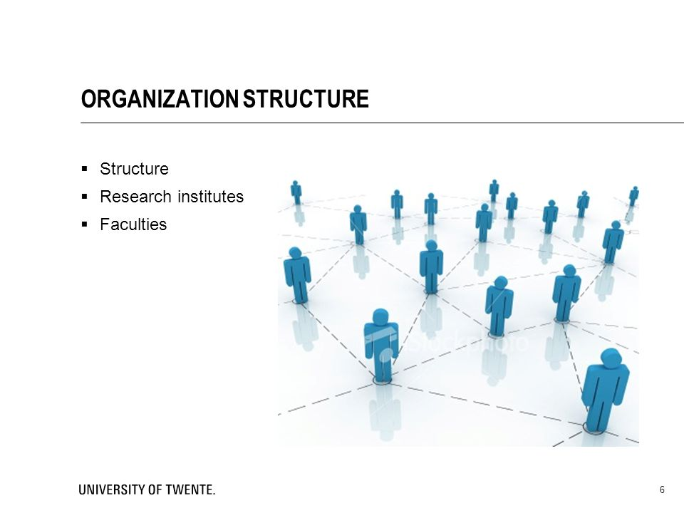 6 ORGANIZATION STRUCTURE  Structure  Research institutes  Faculties