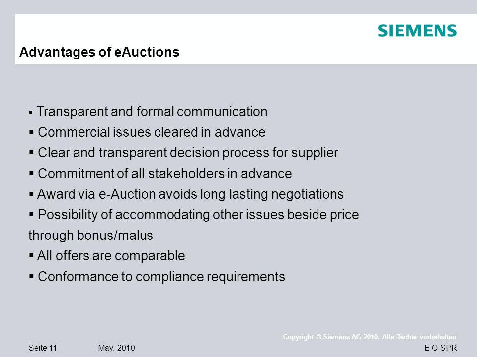 Seite 11 May, 2010 E O SPR Copyright © Siemens AG 2010. Alle Rechte vorbehalten Advantages of eAuctions  Transparent and formal communication  Comme