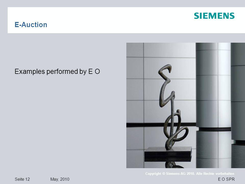 Seite 12 May, 2010 E O SPR Copyright © Siemens AG 2010. Alle Rechte vorbehalten E-Auction Examples performed by E O