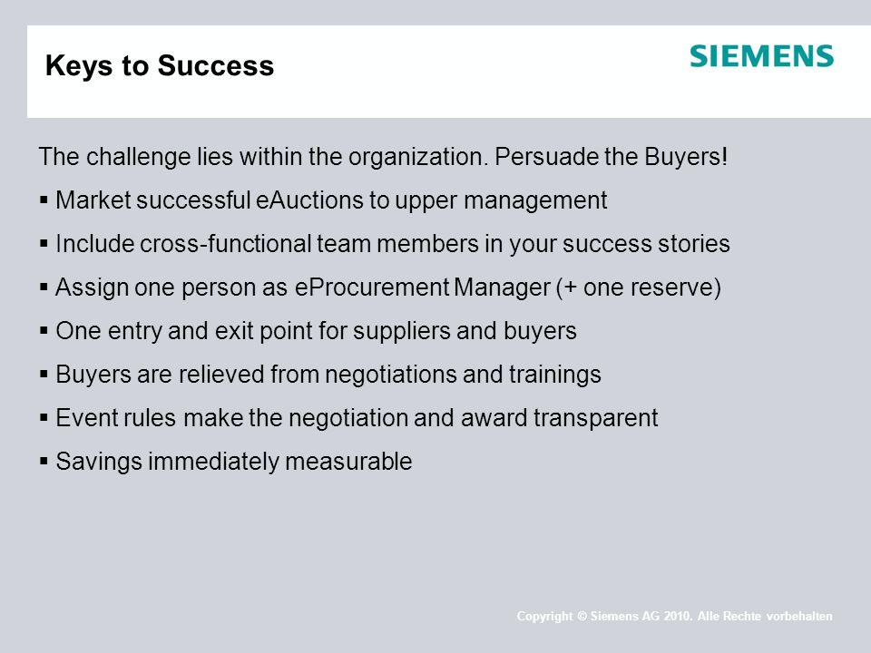 Copyright © Siemens AG 2010. Alle Rechte vorbehalten Keys to Success The challenge lies within the organization. Persuade the Buyers!  Market success