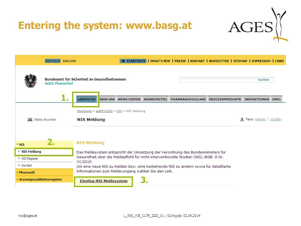 nis@ages.atL_INS_VIE_CLTR_I232_01 / Gültig ab: 02.06.2014 Additional Information Help on fields on screen 4: The authorization number entered is checked against the list of national and European authorized products by the system.