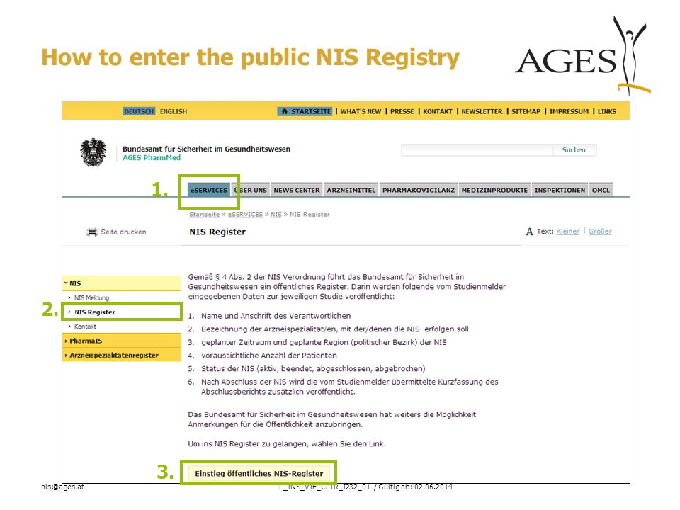 nis@ages.atL_INS_VIE_CLTR_I232_01 / Gültig ab: 02.06.2014 How to enter the public NIS Registry 2.