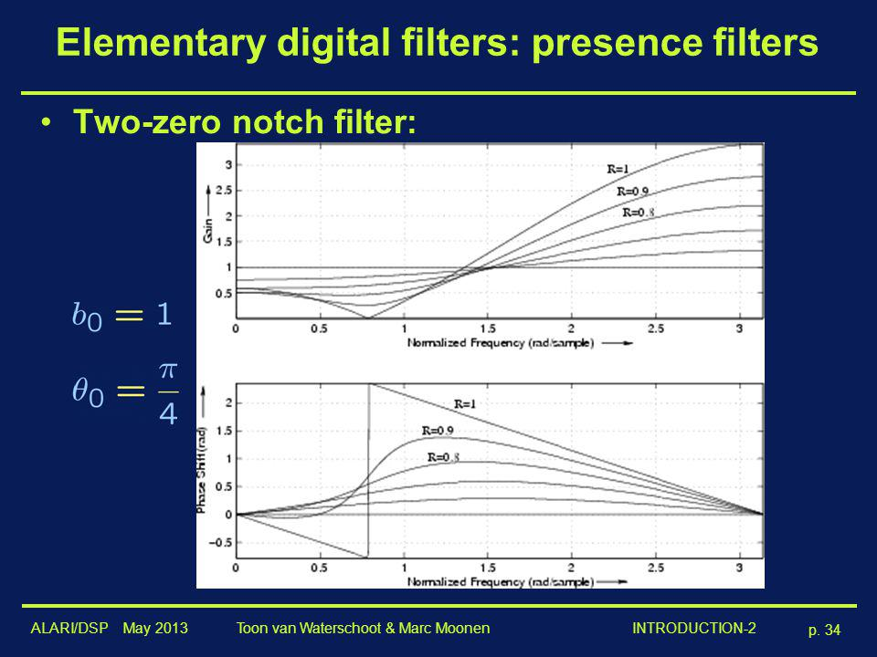 ALARI/DSP May 2013 p. 34 Toon van Waterschoot & Marc Moonen INTRODUCTION-2 Elementary digital filters: presence filters Two-zero notch filter: