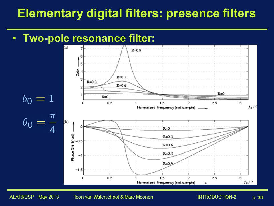 ALARI/DSP May 2013 p. 38 Toon van Waterschoot & Marc Moonen INTRODUCTION-2 Elementary digital filters: presence filters Two-pole resonance filter: