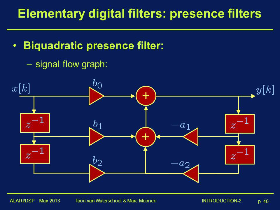 ALARI/DSP May 2013 p. 40 Toon van Waterschoot & Marc Moonen INTRODUCTION-2 Elementary digital filters: presence filters Biquadratic presence filter: –