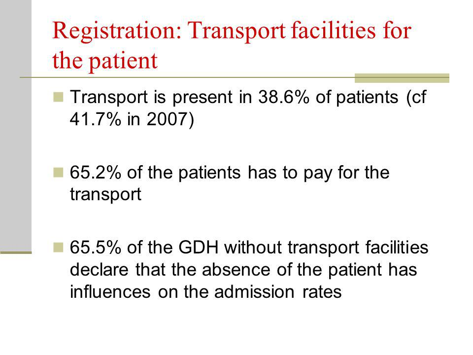 Registration: Transport facilities for the patient Transport is present in 38.6% of patients (cf 41.7% in 2007) 65.2% of the patients has to pay for the transport 65.5% of the GDH without transport facilities declare that the absence of the patient has influences on the admission rates