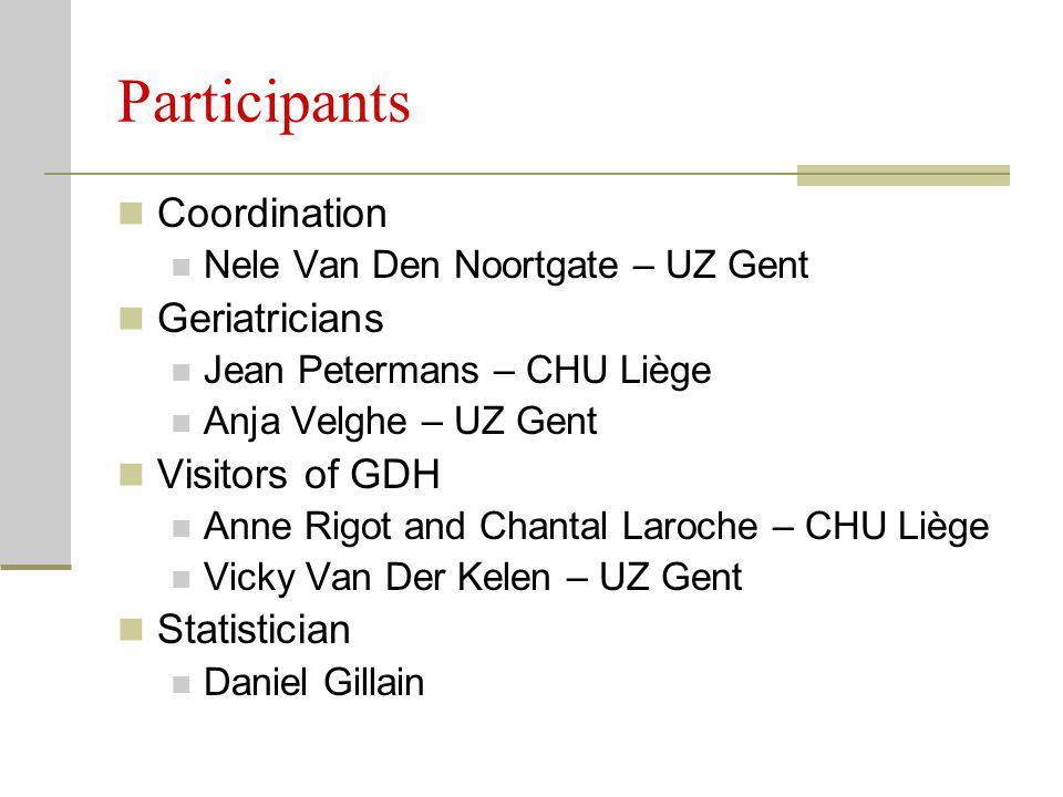 Participants Coordination Nele Van Den Noortgate – UZ Gent Geriatricians Jean Petermans – CHU Liège Anja Velghe – UZ Gent Visitors of GDH Anne Rigot a