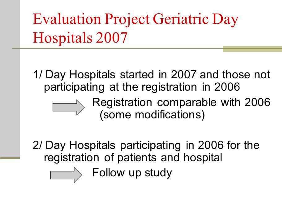 Evaluation Project Geriatric Day Hospitals 2007 1/ Day Hospitals started in 2007 and those not participating at the registration in 2006 Registration comparable with 2006 (some modifications) 2/ Day Hospitals participating in 2006 for the registration of patients and hospital Follow up study
