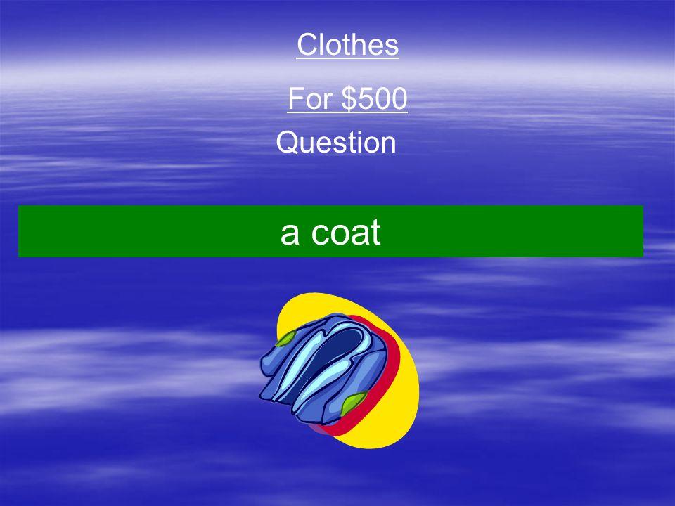 Question Clothes For $500 a coat
