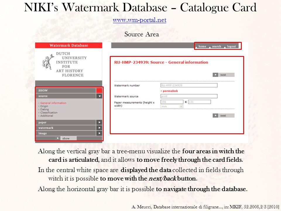 NIKI's Watermark Database – Catalogue Card A.