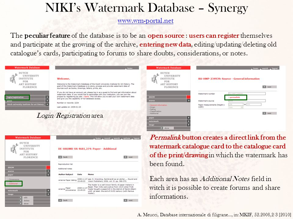 NIKI's Watermark Database – Synergy A. Meucci, Database internazionale di filigrane..., in: MKIF, 52.2008,2/3 [2010] www.wm-portal.net The peculiar fe