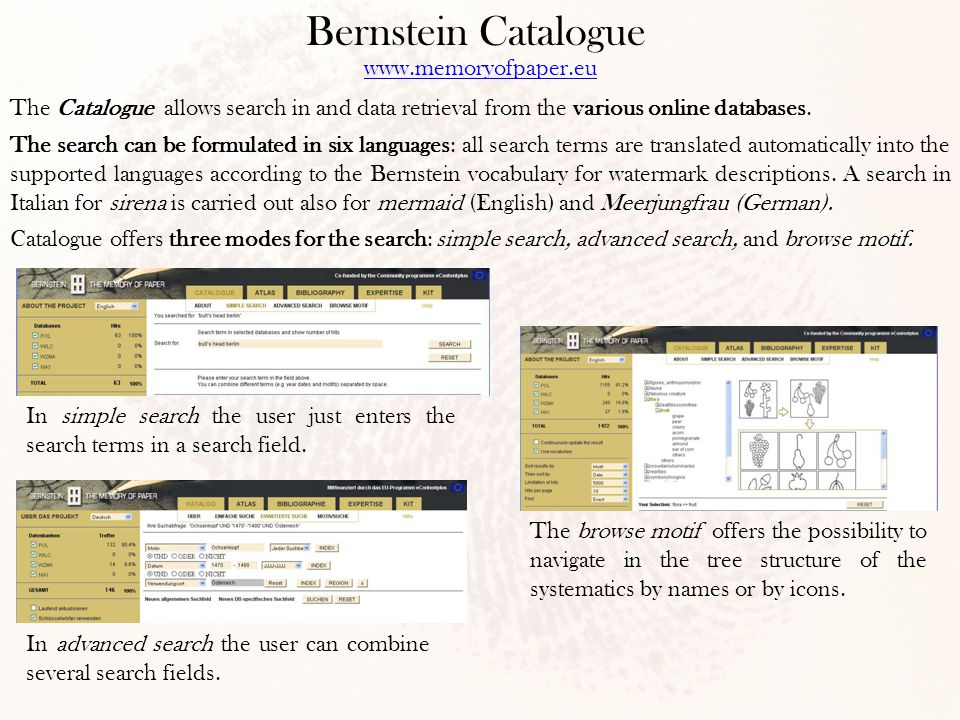 Bernstein Catalogue The Catalogue allows search in and data retrieval from the various online databases.