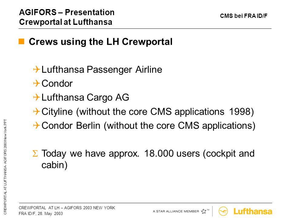 CREWPORTAL AT LH – AGIFORS 2003 NEW YORKSeite 12 FRA ID/F, 28. May 2003 CREWPORTAL AT LUFTHANSA- AGIFORS 2003 New York.PPT AGIFORS – Presentation Crew