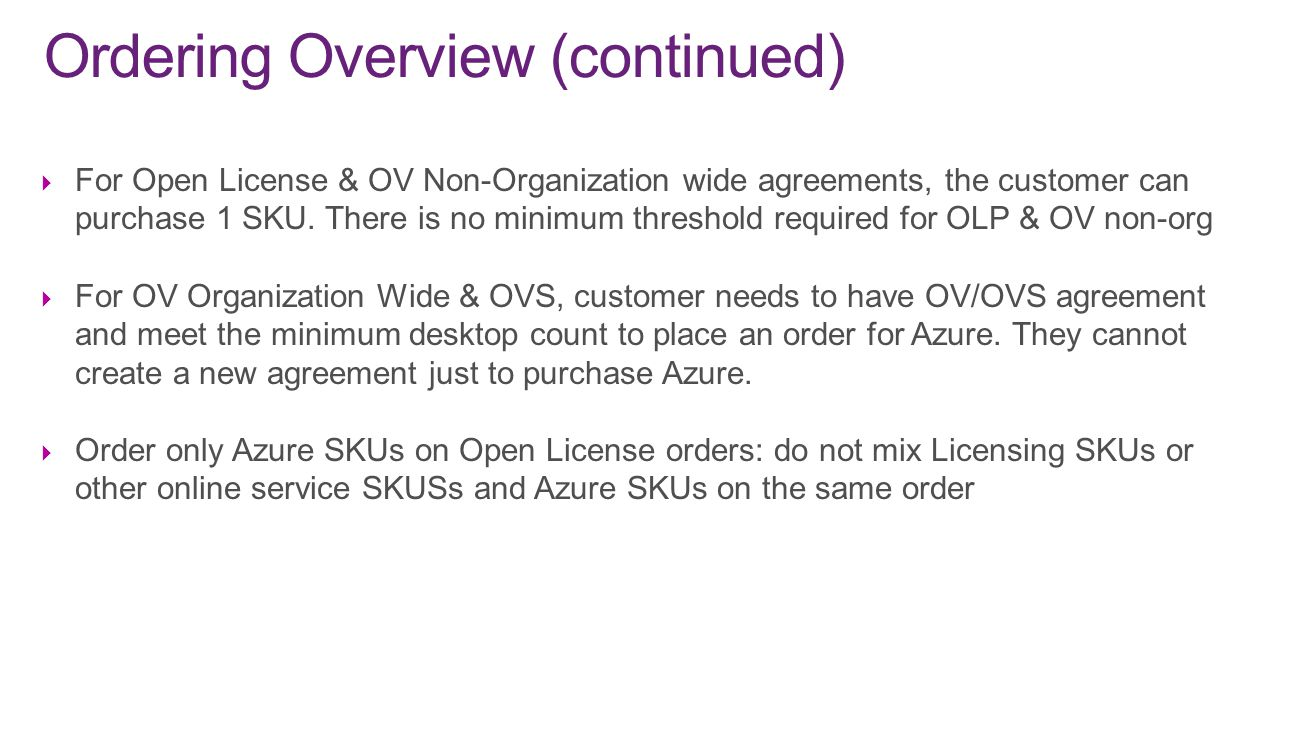  For Open License & OV Non-Organization wide agreements, the customer can purchase 1 SKU. There is no minimum threshold required for OLP & OV non-org