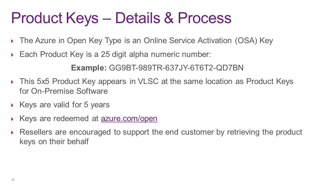 Product Keys – Details & Process  The Azure in Open Key Type is an Online Service Activation (OSA) Key  Each Product Key is a 25 digit alpha numeric
