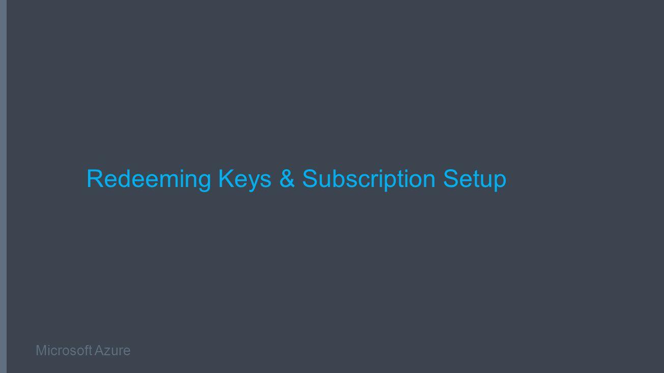 Microsoft Azure Redeeming Keys & Subscription Setup