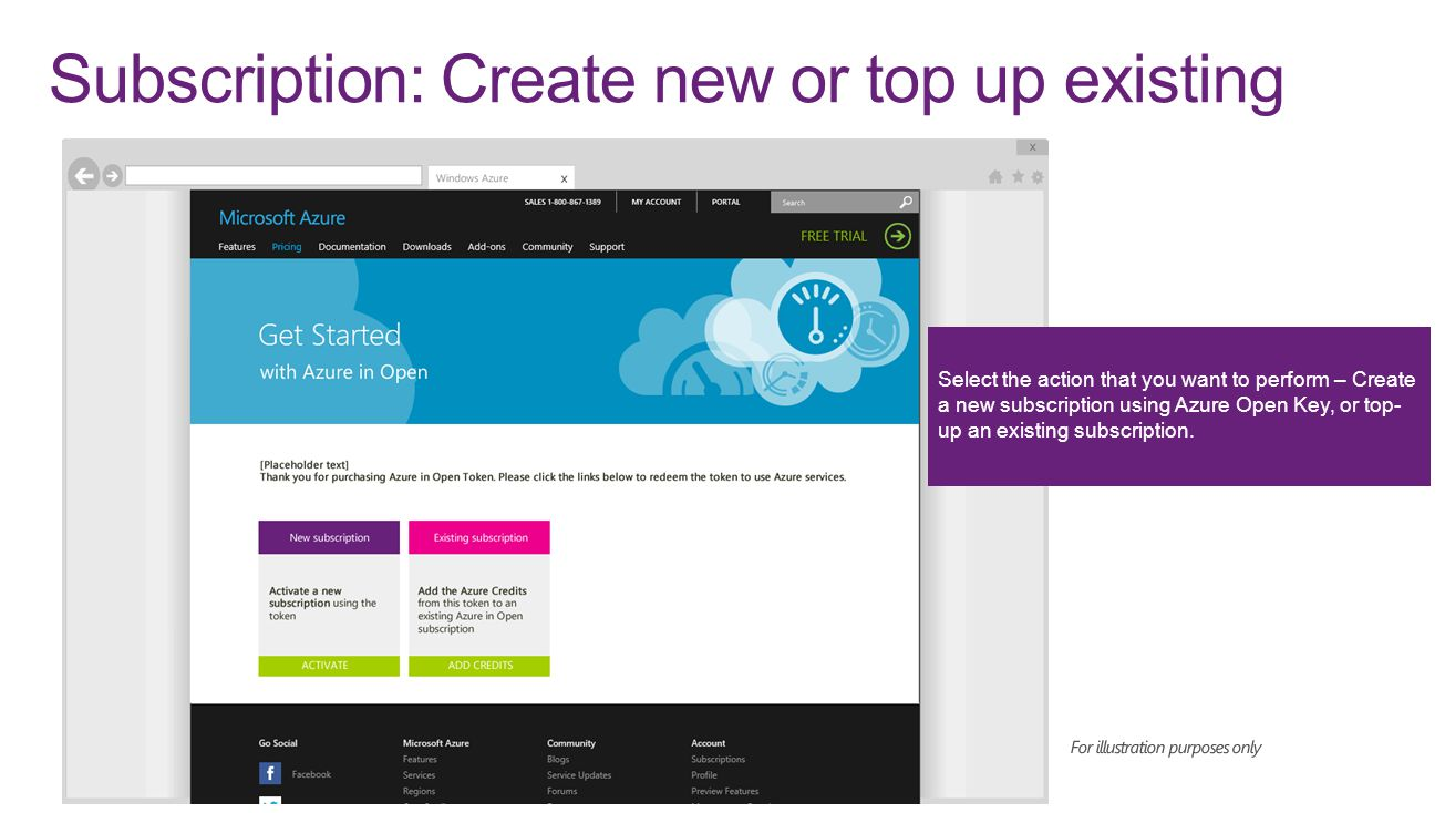Select the action that you want to perform – Create a new subscription using Azure Open Key, or top- up an existing subscription. Subscription: Create