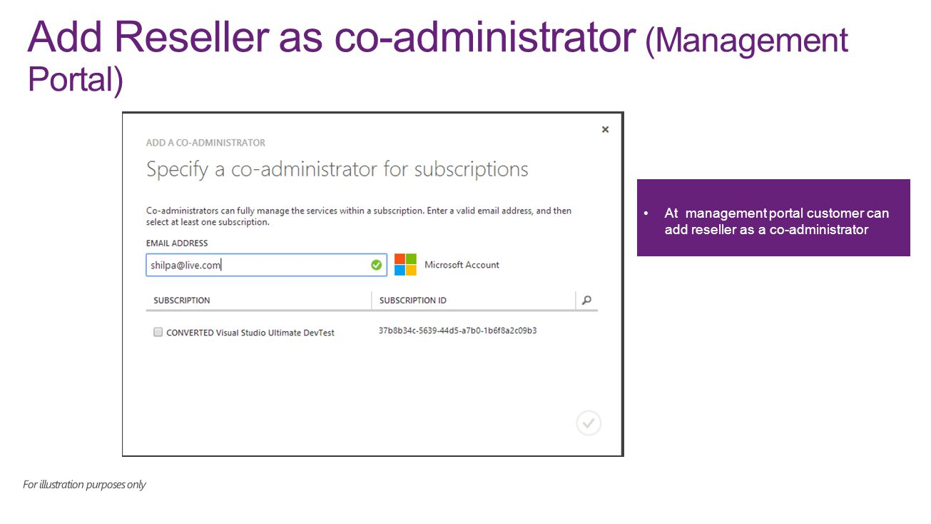 Add Reseller as co-administrator (Management Portal) At management portal customer can add reseller as a co-administrator