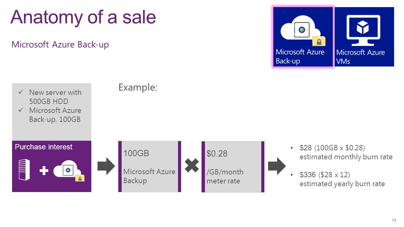 Anatomy of a sale 79 New server with 500GB HDD Microsoft Azure Back-up, 100GB Purchase interest Example: 100GB Microsoft Azure Backup $28 (100GB x $0.