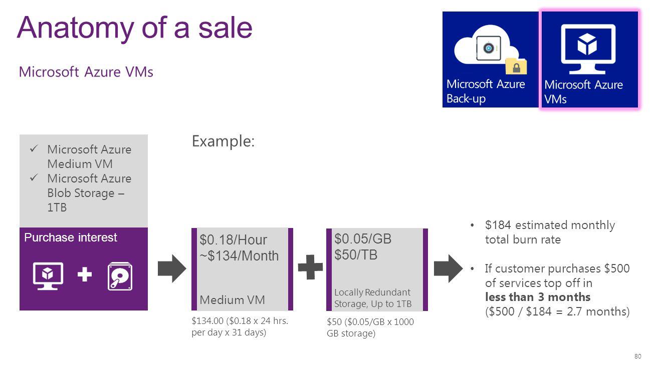 Anatomy of a sale 80 Microsoft Azure Medium VM Microsoft Azure Blob Storage – 1TB Purchase interest Example: $0.18/Hour ~$134/Month Medium VM $184 est