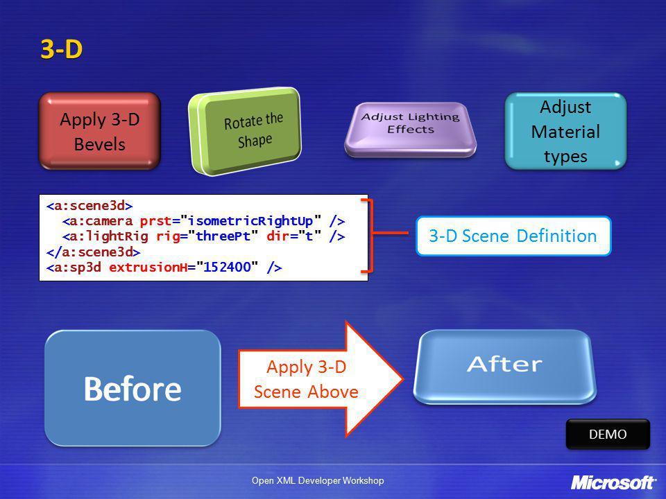 Open XML Developer Workshop 3-D 3-D Scene Definition Before Apply 3-D Scene Above Apply 3-D Bevels Adjust Material types DEMO