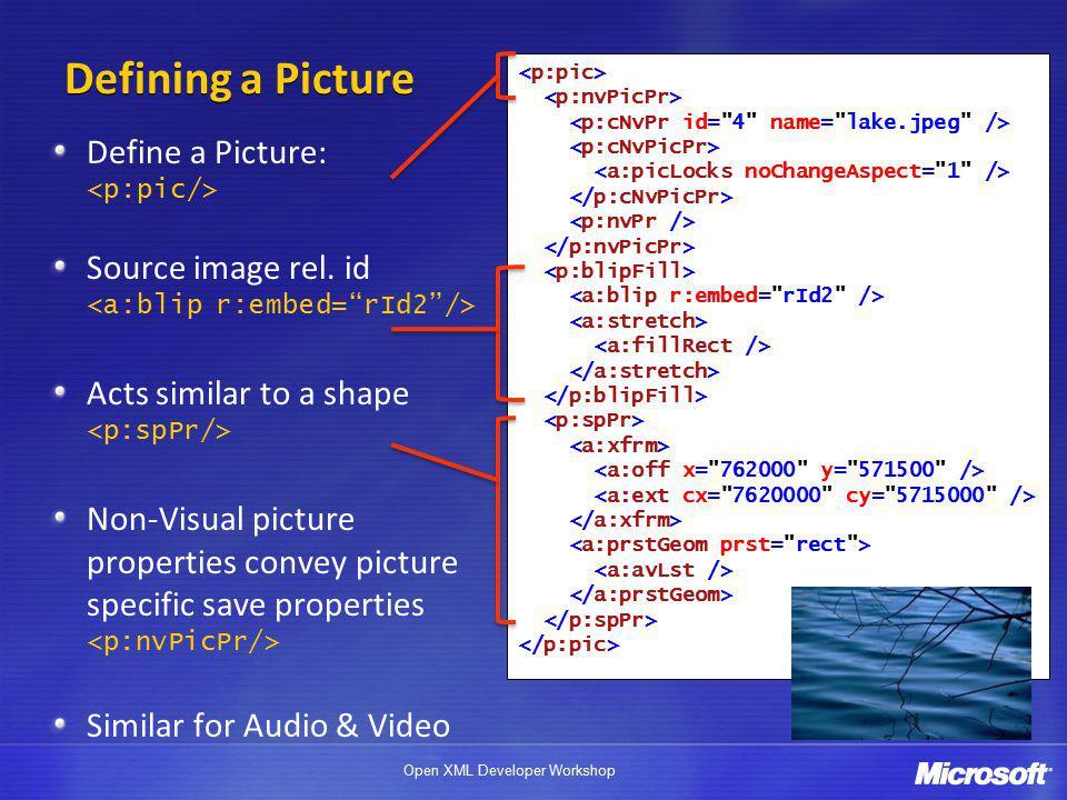 Open XML Developer Workshop Defining a Picture Define a Picture: Source image rel.