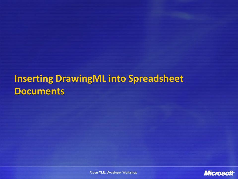 Open XML Developer Workshop Inserting DrawingML into Spreadsheet Documents