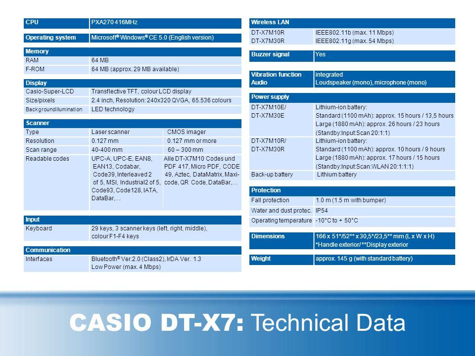 CASIO DT-X7: System Overview Network HeadquartesStore / Branch office Scanner USB Cradle HA-F6010 DT-X7M10E/M10R WWAN DT-X7M10E/M10R Bluetooth Mobile