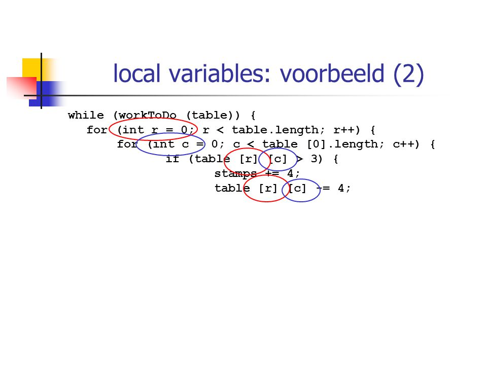 local variables: voorbeeld (2) while (workToDo (table)) { for (int r = 0; r < table.length; r++) { for (int c = 0; c < table [0].length; c++) { if (ta