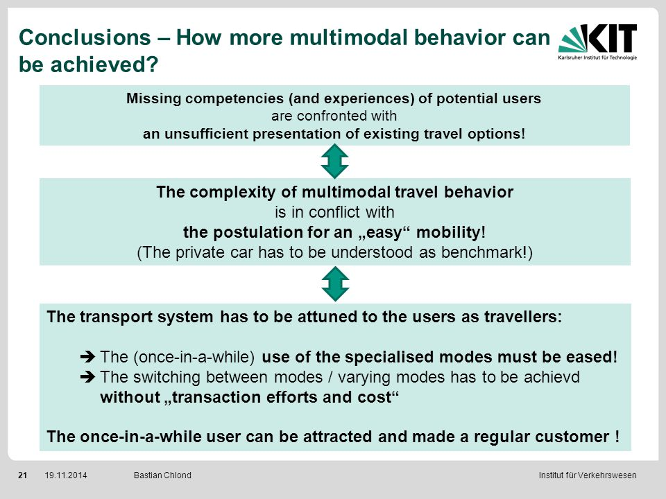 Institut für Verkehrswesen 2119.11.2014 Bastian Chlond Conclusions – How more multimodal behavior can be achieved? Missing competencies (and experienc
