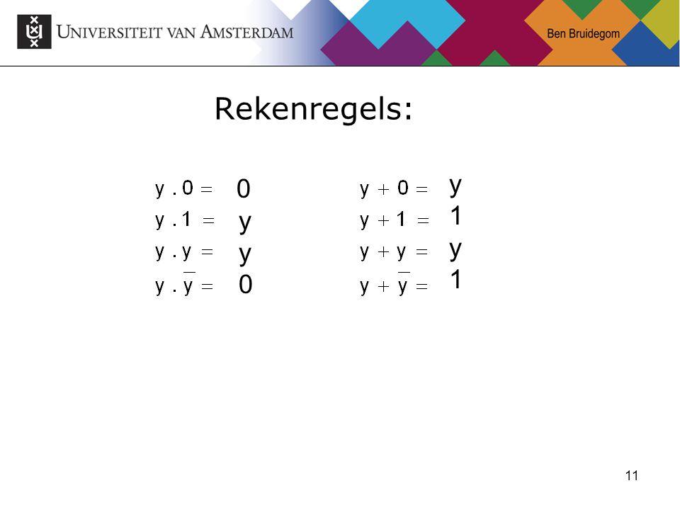 11 Rekenregels: 0 y y 0 y 1 y 1