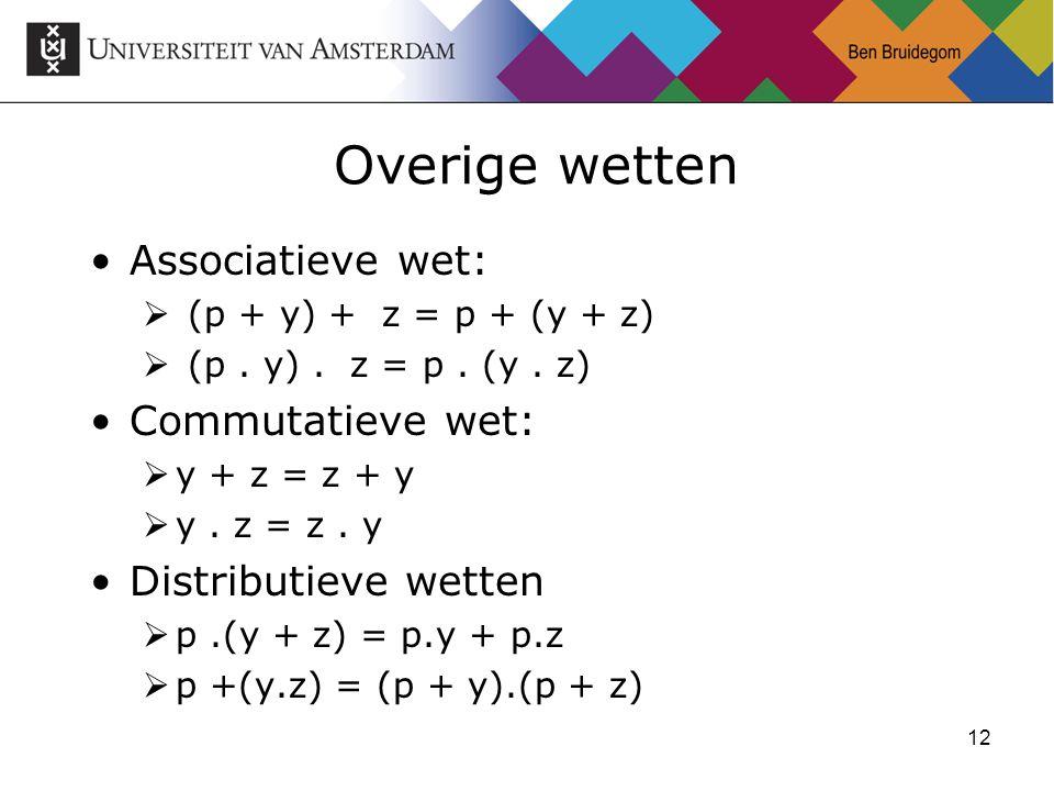 12 Overige wetten Associatieve wet:  (p + y) + z = p + (y + z)  (p.