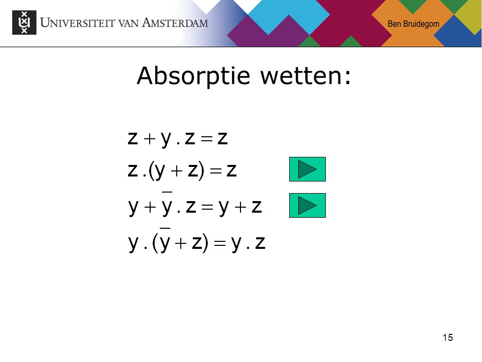 15 Absorptie wetten: