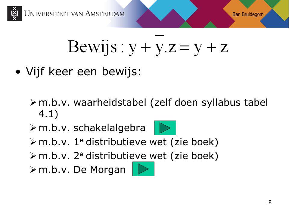18 Vijf keer een bewijs:  m.b.v. waarheidstabel (zelf doen syllabus tabel 4.1)  m.b.v.
