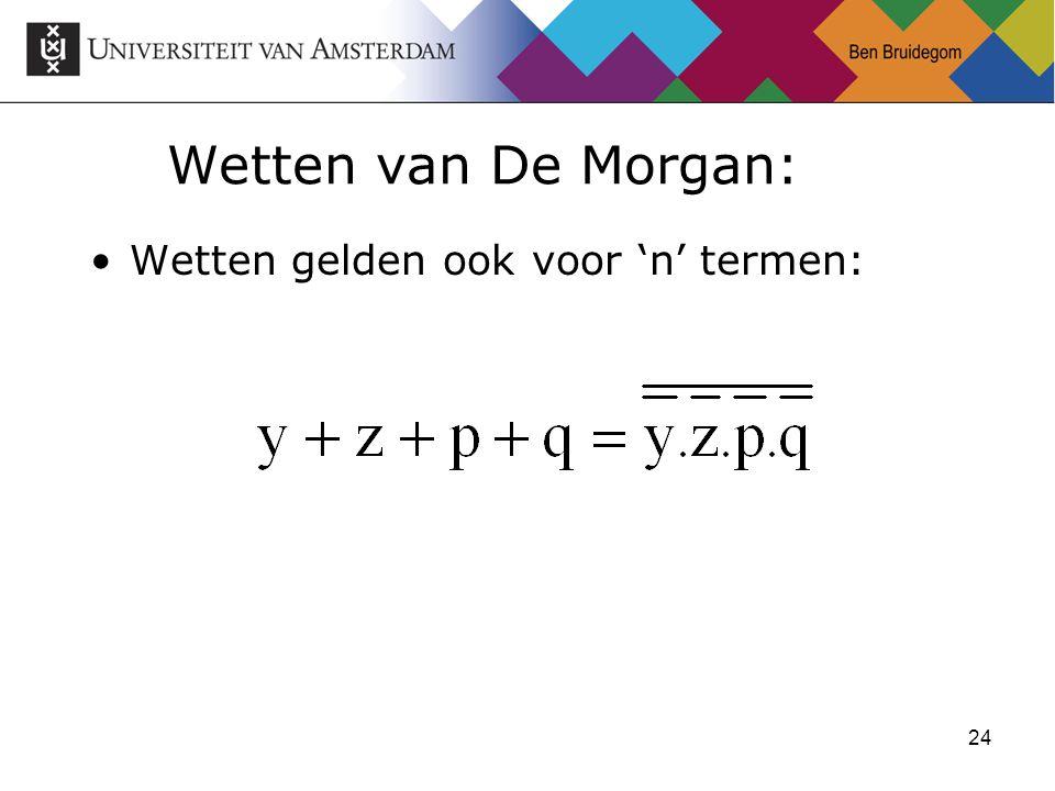 24 Wetten van De Morgan: Wetten gelden ook voor 'n' termen: