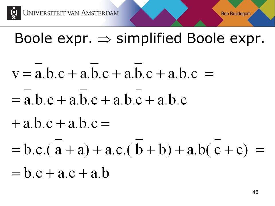 48 Boole expr.  simplified Boole expr.