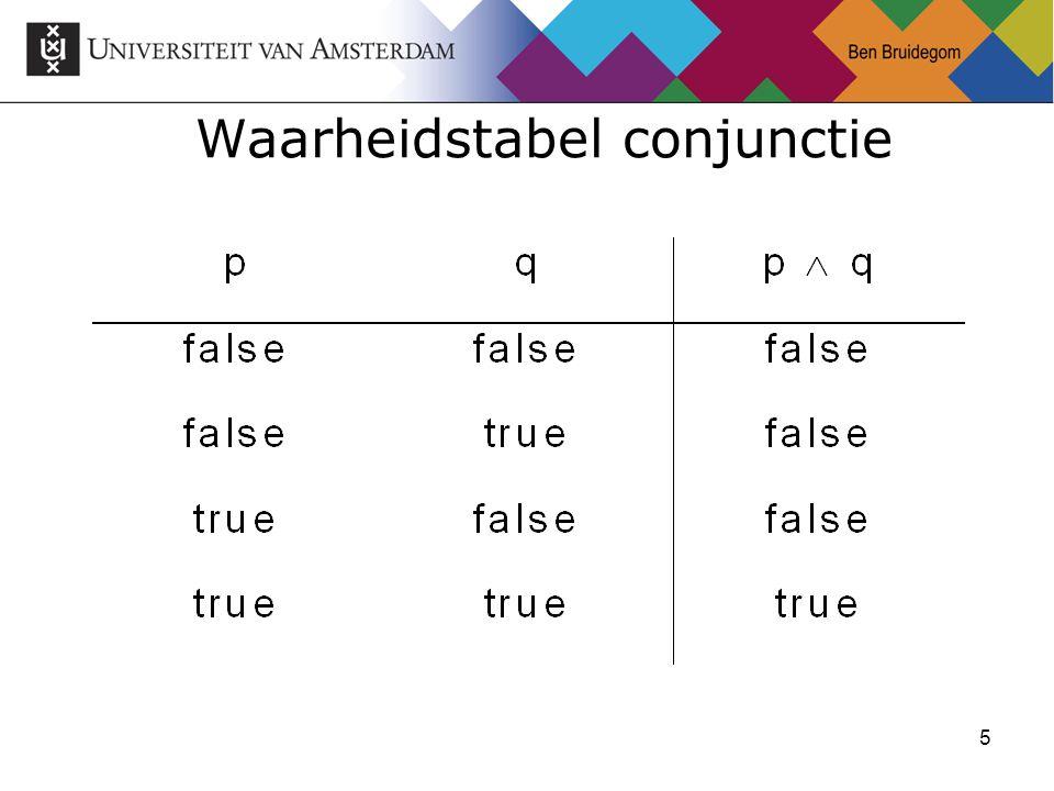 5 Waarheidstabel conjunctie