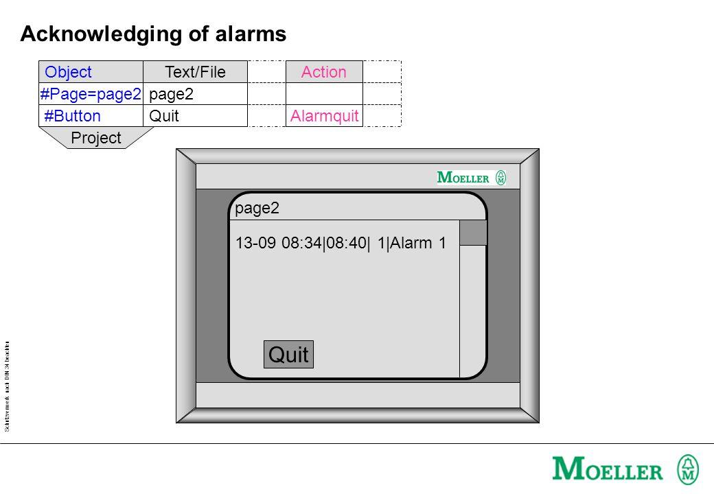 Schutzvermerk nach DIN 34 beachten Acknowledging of alarms ObjectText/FileAction #Page=page2page2 #ButtonQuitAlarmquit Project 13-09 08:34|08:40| 1|Al