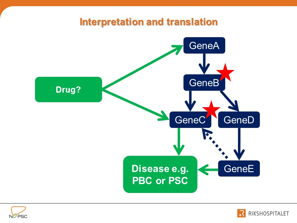 Interpretation and translation GeneA GeneB GeneCGeneD GeneE Disease e.g. PBC or PSC Drug?