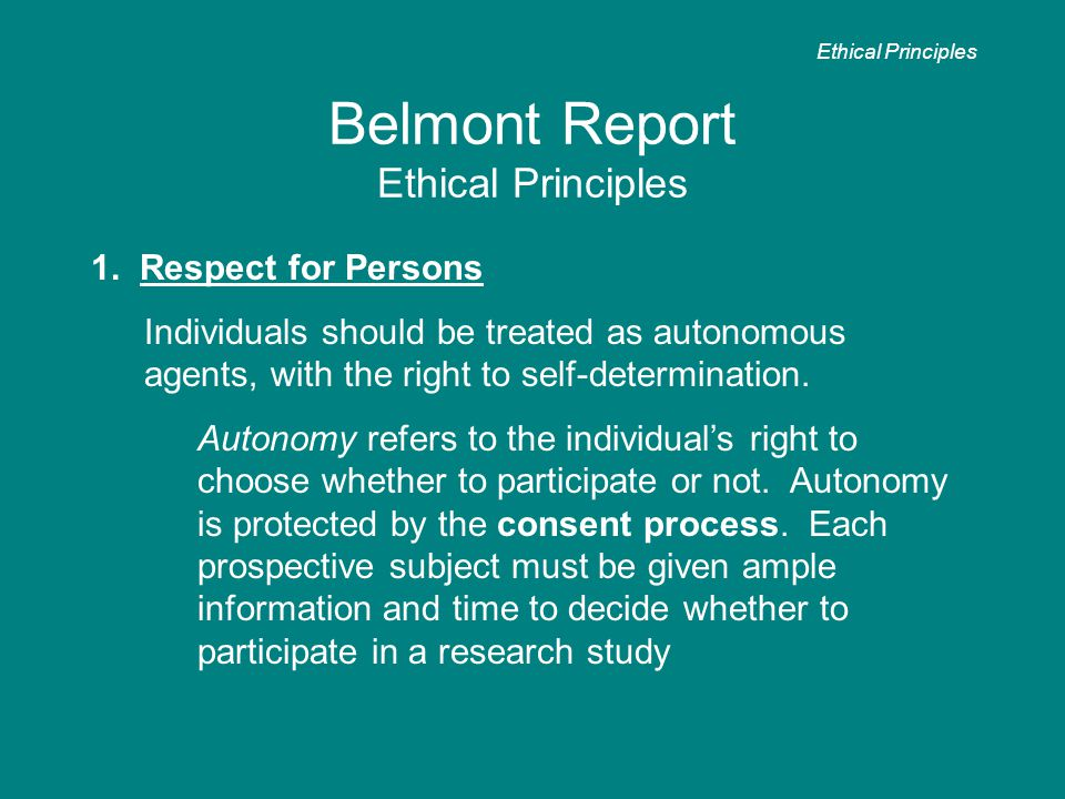 Belmont Report Ethical Principles 1.