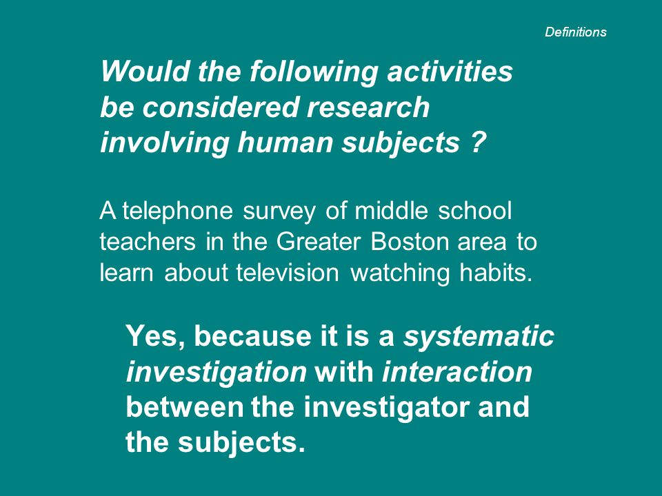 Yes, because it is a systematic investigation with interaction between the investigator and the subjects.