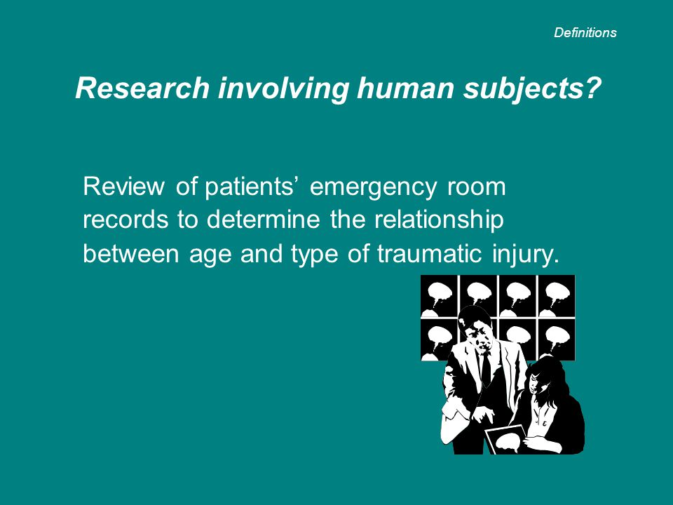 Review of patients' emergency room records to determine the relationship between age and type of traumatic injury. Research involving human subjects?